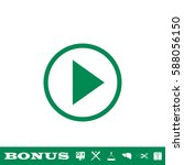 play icon flat. green pictogram ... | Shutterstock .eps vector #588056150