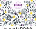 berries hand drawn vector... | Shutterstock .eps vector #588061694