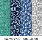 set of geometric seamless... | Shutterstock .eps vector #588063008