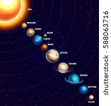 solar system with sun and... | Shutterstock .eps vector #588063716