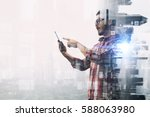 hipster guy use smartphone    . ... | Shutterstock . vector #588063980