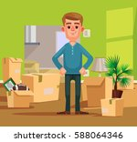 man character moving to new... | Shutterstock .eps vector #588064346