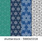 seamless set floral pattern.... | Shutterstock .eps vector #588065318