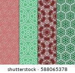 seamless set floral pattern.... | Shutterstock .eps vector #588065378