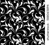 floral seamless pattern. swirls ... | Shutterstock .eps vector #588065894