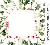 wreath frame of red and white... | Shutterstock . vector #588065918