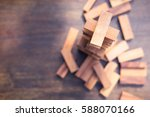 wood blocks stack game with... | Shutterstock . vector #588070166