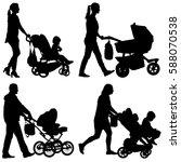 set black silhouettes family... | Shutterstock .eps vector #588070538