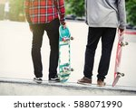 young skater boys with... | Shutterstock . vector #588071990