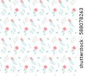 seamless flower pattern. vector ... | Shutterstock .eps vector #588078263