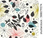 beautiful fantasy seamless... | Shutterstock .eps vector #588079574
