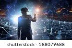 man in virtual helmet    ....   Shutterstock . vector #588079688