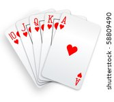 a royal straight flush playing... | Shutterstock .eps vector #58809490