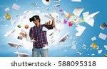 man in virtual helmet    ....   Shutterstock . vector #588095318