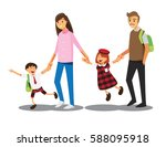 happy family go to school... | Shutterstock .eps vector #588095918