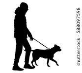 silhouette of people and dog.... | Shutterstock . vector #588097598