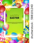 happy easter decorated colorful ... | Shutterstock .eps vector #588101240