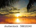 Stock photo maldivian sunset under palms 58810240