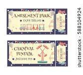 amusement park and carnival...   Shutterstock .eps vector #588104924