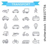 transport icons  thin line ... | Shutterstock .eps vector #588107756