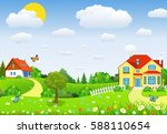 rural landscape with fields and ... | Shutterstock .eps vector #588110654