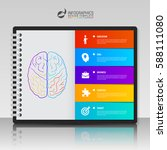 infographic template with brain.... | Shutterstock .eps vector #588111080