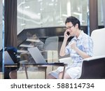 handsome casual businessman... | Shutterstock . vector #588114734