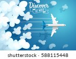 passenger plane flying above... | Shutterstock .eps vector #588115448