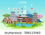 japan travel infographic.... | Shutterstock .eps vector #588115460