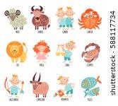 set illustration with cartoon... | Shutterstock .eps vector #588117734