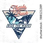 florida beach vector... | Shutterstock .eps vector #588121289