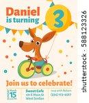 happy birthday vector poster.... | Shutterstock .eps vector #588123326
