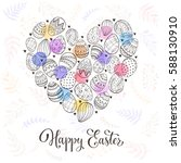 composition with easter eggs... | Shutterstock . vector #588130910