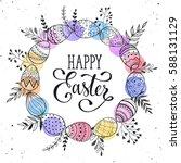 easter wreath with eggs hand... | Shutterstock . vector #588131129