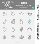 set of  fruit vector line icons.... | Shutterstock .eps vector #588132758