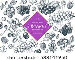 berries hand drawn  vector... | Shutterstock .eps vector #588141950