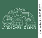 garden landscape design concept ... | Shutterstock .eps vector #588142070