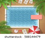 swimming pool and palm tree top ... | Shutterstock .eps vector #588144479