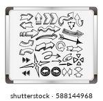 arrows set on flip chart... | Shutterstock .eps vector #588144968