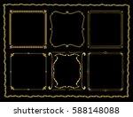 set of golden vintage frame.... | Shutterstock .eps vector #588148088