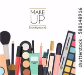 makeup cosmetics and brushes on ... | Shutterstock .eps vector #588148916