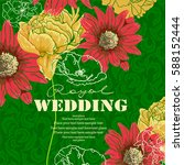 card for invitation with floral ... | Shutterstock .eps vector #588152444