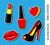 red kiss lips nail polish... | Shutterstock .eps vector #588155408