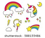 stickers set with unicorn ... | Shutterstock .eps vector #588155486
