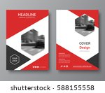 red annual report cover  modern ... | Shutterstock .eps vector #588155558
