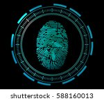 scanning of finger print | Shutterstock .eps vector #588160013