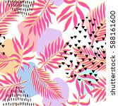 tropical pink palm leaves... | Shutterstock .eps vector #588161600