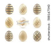 a set of easter eggs decorated... | Shutterstock .eps vector #588167540