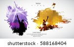 silhouette of dancing people | Shutterstock .eps vector #588168404
