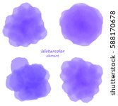 purple watercolor blotch. set... | Shutterstock .eps vector #588170678